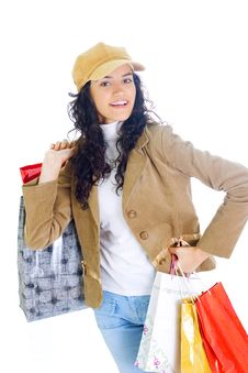 Free Attractive Young Lady With Shopping Bags Royalty Free Stock Photo - 5716065