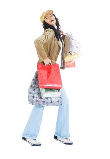 Free Attractive Young Lady With Shopping Bags Royalty Free Stock Photo - 5716075