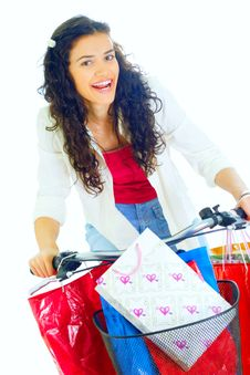 Free Attractive Young Lady With Shopping Bags Stock Photo - 5716130