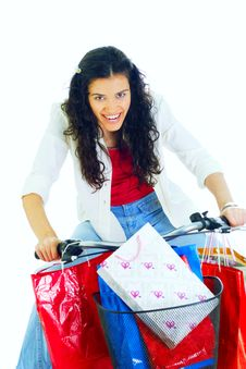 Free Attractive Young Lady With Shopping Bags Royalty Free Stock Photography - 5716157