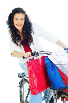 Free Attractive Young Lady With Shopping Bags Royalty Free Stock Image - 5716176