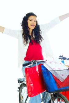 Free Attractive Young Lady With Shopping Bags Royalty Free Stock Photography - 5716177