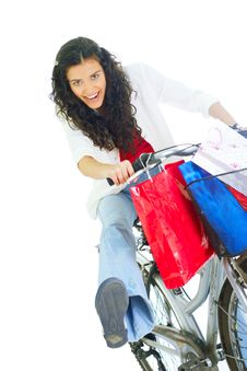 Free Attractive Young Lady With Shopping Bags Royalty Free Stock Images - 5716179
