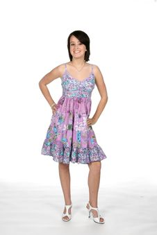 Free Pretty Teen In Purple Dress Stock Photography - 5716752