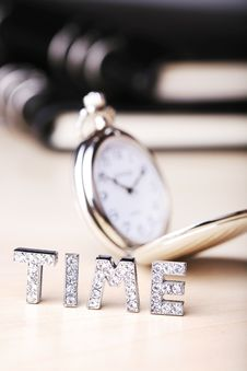 Pocket Watch With  Notebook Stock Photos
