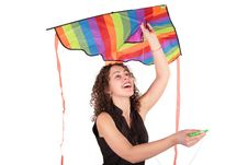 Young Woman With Kite Stock Photography