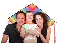 Father, Mother, Son And Kite Stock Photo