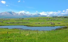 Free Mountains, Meadows And Pond Royalty Free Stock Photo - 5721855