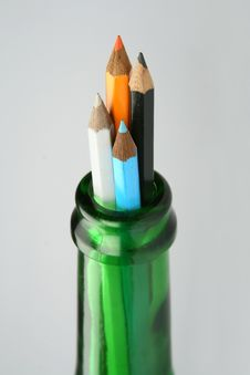 Free Pencils And Bottle Stock Photography - 5724052