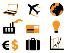 Banks And Business Icons Set Royalty Free Stock Photo