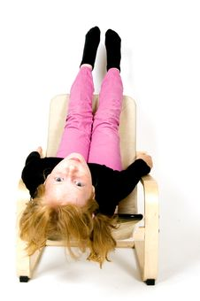 Free Little Girl Is Hanging Upside Down Stock Photos - 5724523