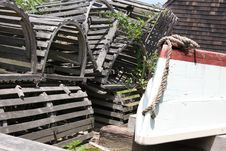 Free Lobster Traps And Row Boat Stock Photo - 5725270