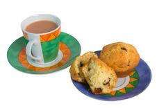 Free Tea And Chocolate Chip Muffins Royalty Free Stock Photo - 5725405