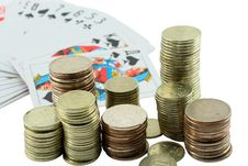 Free Coins And Four Ace Royalty Free Stock Photography - 5726537