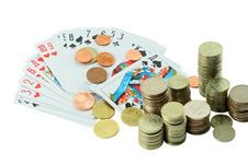 Free Coins And Playing Cards Royalty Free Stock Photo - 5726555
