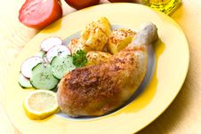 Fried Chicken With Fried Potatoes, And Cucumber,to Royalty Free Stock Image