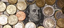 Free Franklin Surround With Euro Coints Stock Image - 5728121