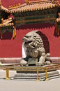 Free Stone Lion In The Ancient Door Stock Image - 5735921