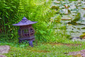 Free Japanese Lantern Near Lily Pond Royalty Free Stock Photos - 5736558