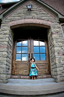 Child And Antique Door Royalty Free Stock Image
