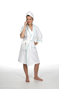 Towel Teen On Phone Royalty Free Stock Photography