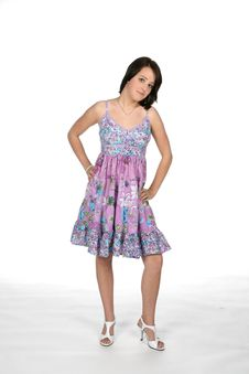 Purple Dress Teen With Hand On Her Hip Royalty Free Stock Photography
