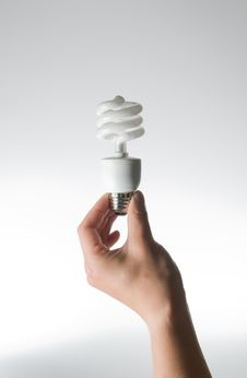 Free Hand Holding An Energy Efficient Light Bulb Stock Photography - 5731502