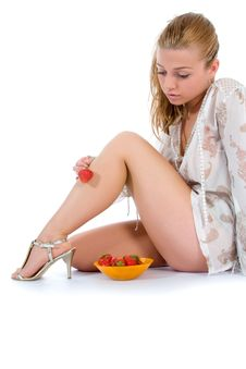 Free Beautiful Girl With Strawberry Royalty Free Stock Photography - 5732187