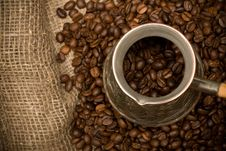Free Cezve With Freshly Roasted Coffee Beans Royalty Free Stock Images - 5736299
