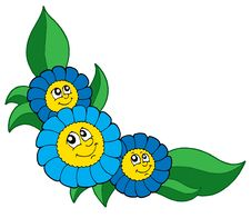 Free Three Blue Flowers Vector Stock Photo - 5737140