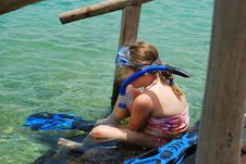 Free Girl Putting On Snorkeling Gear Stock Image - 5737791