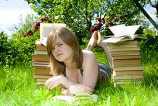Free The Young Student With The Books Stock Images - 5738934