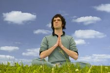 Free Man Sitting In The Lotus Posture Royalty Free Stock Images - 5739309