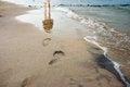 Free Woman&x27;s Footprints On The Seashore Stock Photography - 57377002