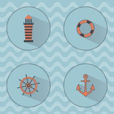 Free Marine Vector Icons With Shadows Royalty Free Stock Photography - 57381867