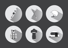 Flat Rafting Icons In Black And White With Long Shadows Stock Photography