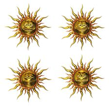 Four Golden Emotisuns Royalty Free Stock Photos