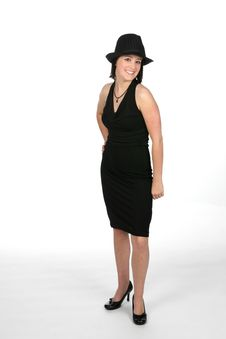Girl In Black Top Hat Royalty Free Stock Photo