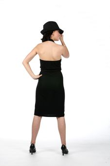 Free Back View Of Teen Wearing Black Dress And Top Hat Royalty Free Stock Photography - 5741277