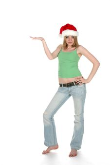 Free Sexy Woman In Santa Hat And Hand Out Royalty Free Stock Photos - 5741278