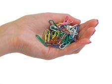 Free Paper Clip In Hand Royalty Free Stock Images - 5741949