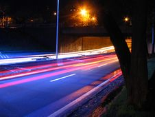 Highway At Night. Stock Photos