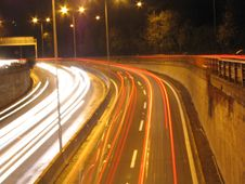 Highway At Night. Royalty Free Stock Images
