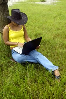 Free Woman & Laptop. Royalty Free Stock Photos - 5742888