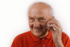 Free Senior Using Mobile Phone Royalty Free Stock Images - 5743089
