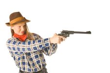 Cowgirl With A Gun Royalty Free Stock Images