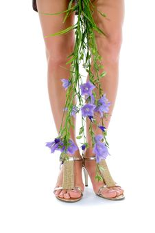 Free Long Legs On High Heels With Flowers Royalty Free Stock Photos - 5743888