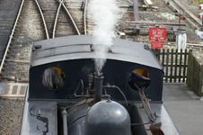 Steam Train In Shunting Yard Royalty Free Stock Images