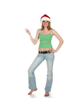 Free Santa Hat Woman With Hand On Her Hip Stock Photos - 5745223