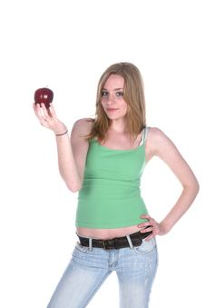 Free Pretty Woman Holding An Apple Royalty Free Stock Photo - 5745235
